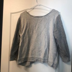Comfy grey knit sweater with mesh back detail